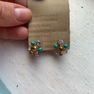 Retro Statement Stud Earrings Teal   Diamonds